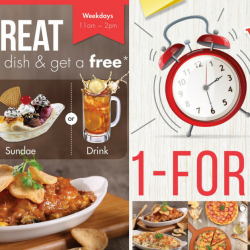 Swensen's: Weekday Offers - FREE Side, Sundae or Drink & 1-for-1 Mains/Desserts