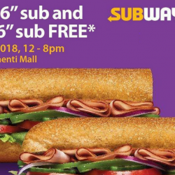"Subway: Buy 1 Get 1 FREE 6"" Sub at Clementi Mall on 23 Mar 2018!"