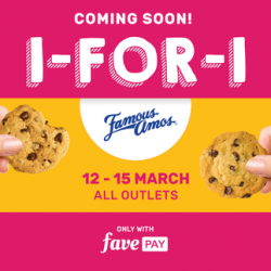 Famous Amos: Enjoy 1 for 1 Famous Amos Cookies with FavePay!