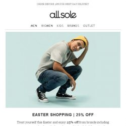[Allsole] Don't miss 25% off must-have brands