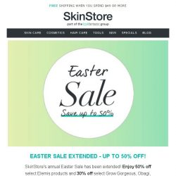 [SkinStore] Up to 50% Off - Easter Sale Extended!