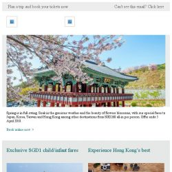 [Cathay Pacific Airways] Tuesday Friend Fares from SGD268 all-in