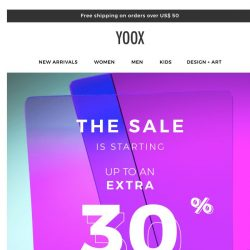 [Yoox] ❗ Important notice: EXTRA 30% OFF SALE is starting ❗