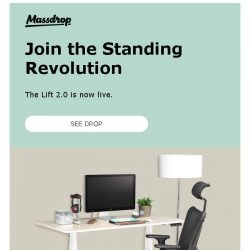 [Massdrop] Massdrop Lift 2.0 Sit-to-Stand Desk: Available Now