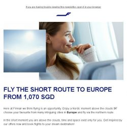 [Finnair] Fly the short northern route to Europe from 1,070 SGD