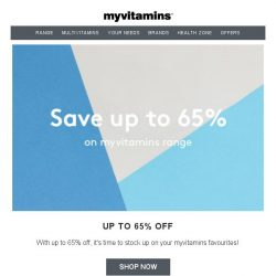 [MyVitamins] Up To 65% Off + EXTRA 20%