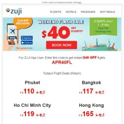 [Zuji] BQ.sg, Use your Coupon Code and Save $40 flights
