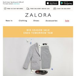 [Zalora] Ends tomorrow 9AM: EXTRA 18% off sitewide!