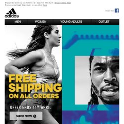 [Adidas] Ending Soon: Free delivery on all orders