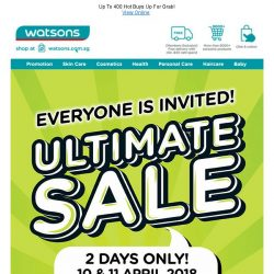[Watsons] Ultimate Sale up to 67% Off + 6% POSB Everyday Rebate + Members' Exclusive: $5 coupon with $50 nett spend till 11Apr