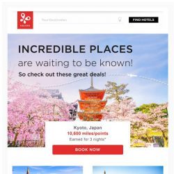 [Kaligo] , earn 10,600 Miles for 3 nights in Kyoto!