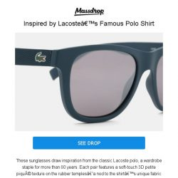 [Massdrop] Lacoste L848S Sunglasses: Inspired by the Famous Polo Shirt for $39.99