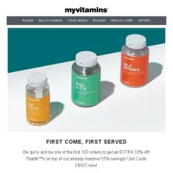 [MyVitamins] Hurry! EXTRA 30% For The First 100