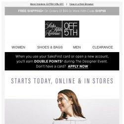 [Saks OFF 5th] Let us upgrade you: EXTRA 30% OFF DESIGNER + We picked styles just for YOU!