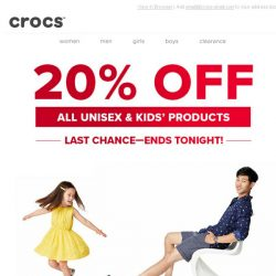 [Crocs Singapore] Only few hours left: 20% OFF all Unisex and Kids' styles!
