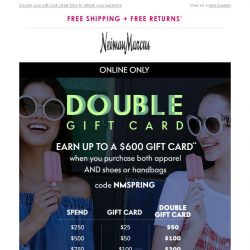[Neiman Marcus] A $25-$600 gift card could be yours