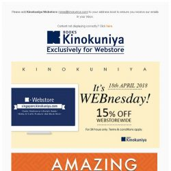 [Books Kinokuniya] ⏰ It's WEBnesday! Enjoy 15% Off Webstorewide on 18th April, exclusively on Kinokuniya Webstore Singapore!