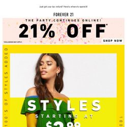 [FOREVER 21] Update: 100's of new styles added to SALE!
