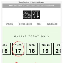 [Saks OFF 5th] Don't forget to file for an EXTRA 20% OFF!