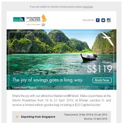 [Singapore Airlines] The joy of saving goes a long way at the SilkAir roadshow from SGD119.