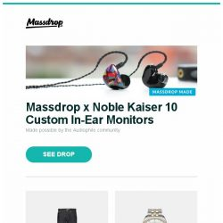 [Massdrop] Massdrop x Noble Kaiser 10 Custom In-Ear Monitors, Massdrop x Naked & Famous Karui Stretch Selvage, Glycine Combat 6 Classic Automatic Watch and more...