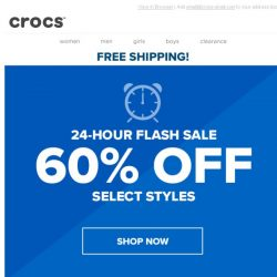 [Crocs Singapore] DROPPING TODAY: 24-hour Flash Sale 60% OFF select styles + Free Shipping