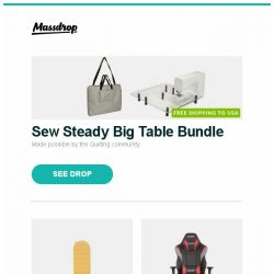 [Massdrop] Sew Steady Big Table Bundle, Therm-a-Rest NeoAir XLite Sleeping Pad, AKRacing MAX Gaming Chairs (2018 Models) and more...