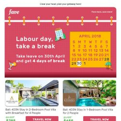 [Fave] Get 4 days off with 1 day leave, cos' you deserve it!