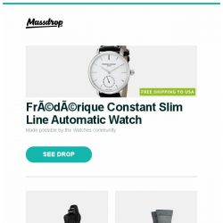 [Massdrop] Frédérique Constant Slim Line Automatic Watch, AKRacing Premium Chairs 2017 Models Last Chance, Darn Tough Lifestyle Socks (3-Pack) and more...