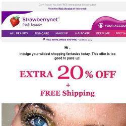 [StrawberryNet] , Hurry! Get Your Extra 20% Off Before it's GONE Tomorrow