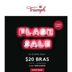 [Triumph] FLASH SALE! $20 Bras, While Stock Lasts!