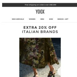[Yoox] 🇮🇹 Fantastico! EXTRA 20% off the most coveted Italian brands