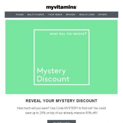 [MyVitamins] Have You Received An EXTRA 20% Off?