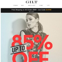 [Gilt] Saturday Steals: New Markdowns (Up to 85% Off)