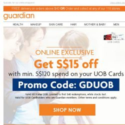 [Guardian] ⏳ Exclusive $15 off for UOB Cardholders | First 540 redemptions only!