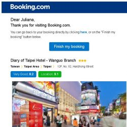 [Booking.com] Diary of Taipei Hotel - Wanguo Branch – are you still interested in staying?