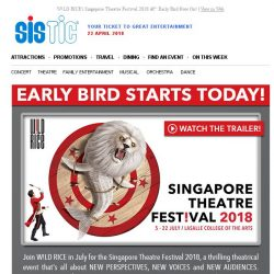[SISTIC] W!LD RICE's Singapore Theatre Festival 2018 – Early Bird Now On!