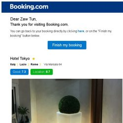 [Booking.com] Hotel Tokyo – are you still interested in staying?