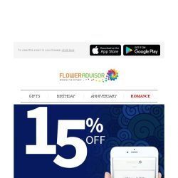 [Floweradvisor] Use Your Mobile Phone And Get 15% OFF Sitewide!