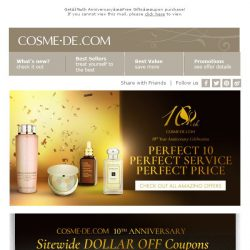 [COSME-DE.com] COSME-DE.COM 10th Anniversary: Sitewide DOLLAR OFF Coupons!