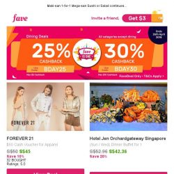 [Fave] Forever 21: $50 Cash Voucher for All Items!