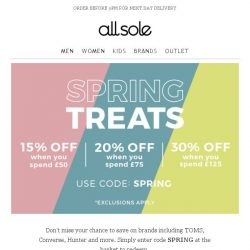 [Allsole] Up to 30% off your footwear faves