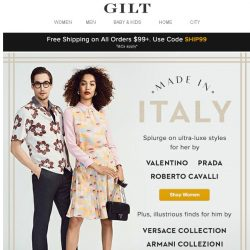 [Gilt] Made in Italy: Luxe Pieces by Valentino, Prada, and more