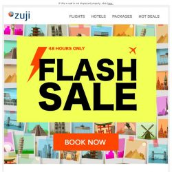 [Zuji] BQ.sg: ⚡48-HOUR - Flight Flash Sale fr $79 ⚡