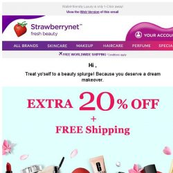 [StrawberryNet] , Last Day to Get Extra 20% Off + Free Shipping on Beauty!