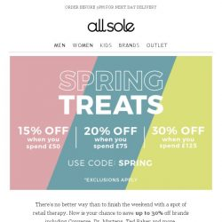 [Allsole] Spend and save | Up to 30% off your favourite brands
