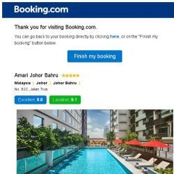 [Booking.com] Amari Johor Bahru – are you still interested in staying?