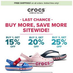 [Crocs Singapore] Last Chance to Buy more, Save more - Up to 25% off + Free Shipping