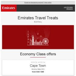 [Emirates] Emirates Travel Treats - fly from SGD 1,089*