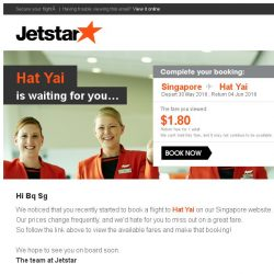 [Jetstar] Don't miss out on your Jetstar flight to Hat Yai!